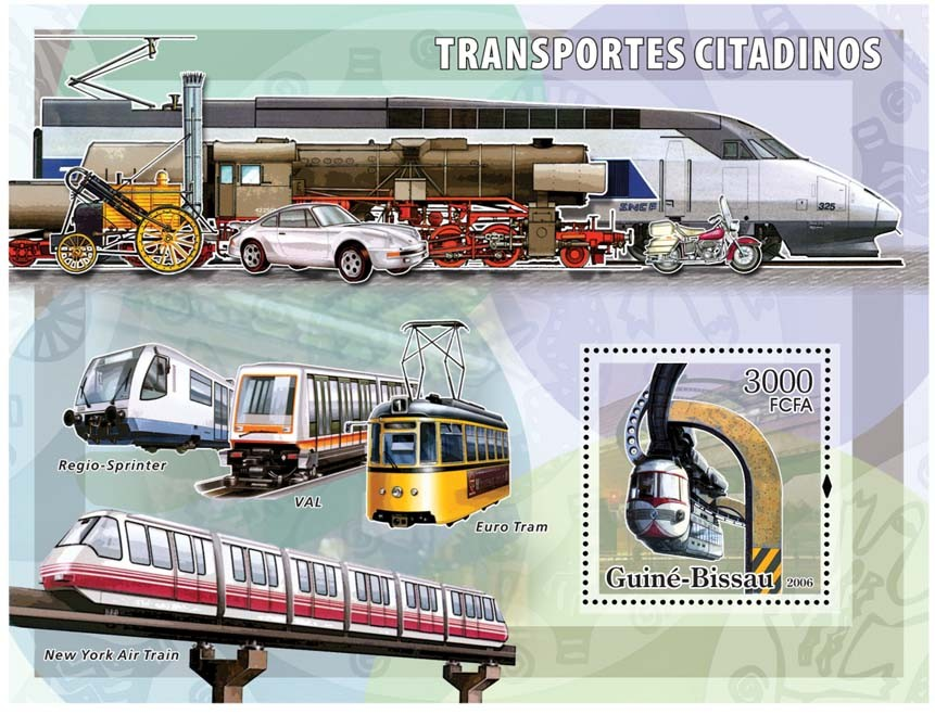 City transport - trams S/s 3000 - Issue of Guinée-Bissau postage stamps