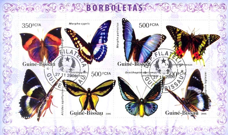 Butterflies 350+3x500 (CTO) - Issue of Guinée-Bissau postage stamps