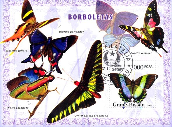 Butterflies S/s 3000 (CTO) - Issue of Guinée-Bissau postage stamps