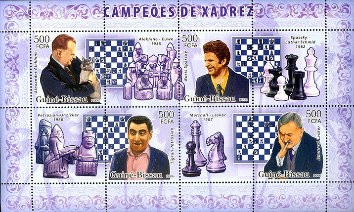 Chess champions (Alekhin, Petrossian, Spassky, Lasker) 4v x 500 - Issue of Guinée-Bissau postage stamps