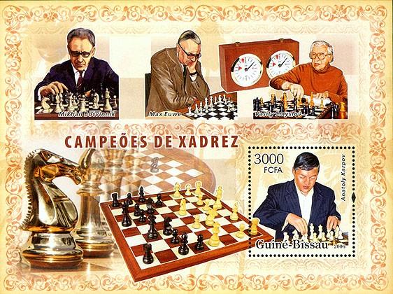 Chess champions (Karpov, Euwe, Smyslov, Botvinik) S/s 3000 - Issue of Guinée-Bissau postage stamps