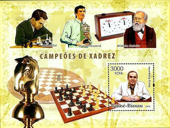 Chess champions (Kramnik, Steinitz, Kasparov, Tal) S/s 3000 - Issue of Guinée-Bissau postage stamps