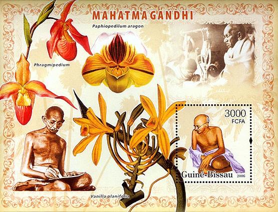 Mahatma Gandhi & orchids S/s 3000 - Issue of Guinée-Bissau postage stamps