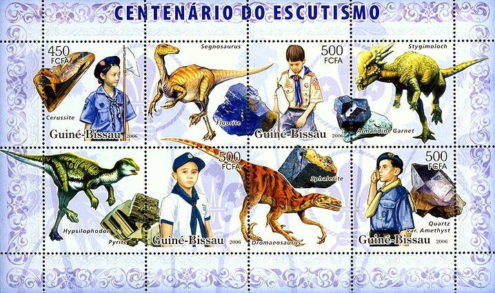 Centenary Scouts, dinosaurs, minerals 450+3x500 - Issue of Guinée-Bissau postage stamps