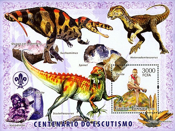 Centenary Scouts, dinosaurs, minerals S/s 3000 - Issue of Guinée-Bissau postage stamps