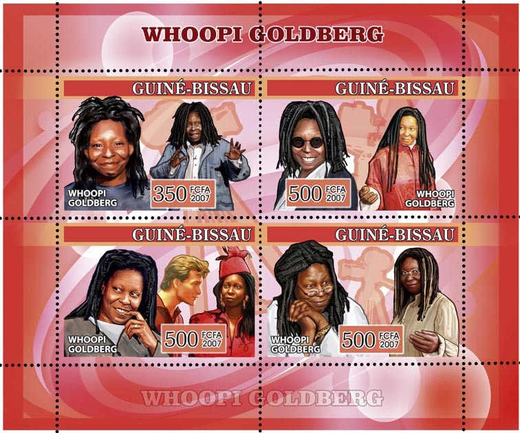 Whoopi Goldberg (cinema) 350+3x500 - Issue of Guinée-Bissau postage stamps