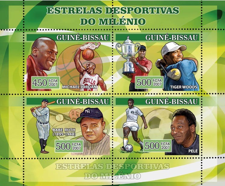 Century Sportsmen: basketball M. Jordan, golf Tiger Woods, baseball Babe Ruth, football Pele 450+3x500 - Issue of Guinée-Bissau postage stamps