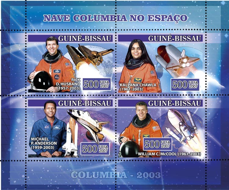 Space Shuttle Columbia 4v x 500 - Issue of Guinée-Bissau postage stamps