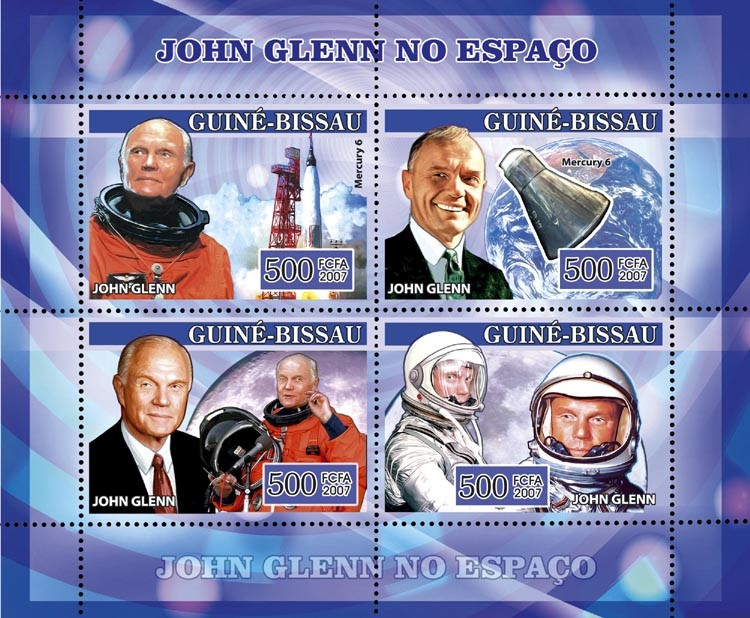 Space John Glenn 4v x 500 - Issue of Guinée-Bissau postage stamps