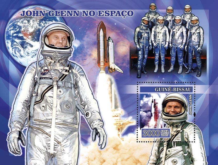 Space John Glenn s/s 3000 - Issue of Guinée-Bissau postage stamps