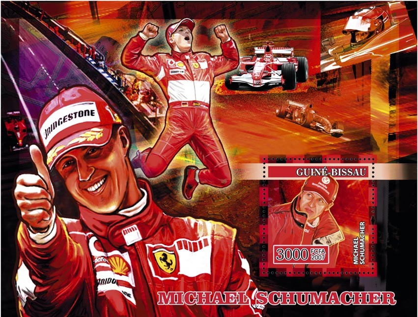 Formula Michael Schumacher s/s 3000 - Issue of Guinée-Bissau postage stamps