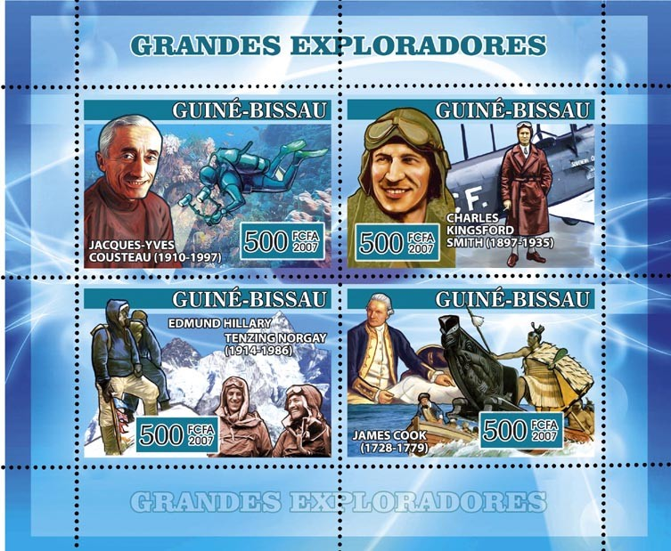Navigators: J.Y. Cousteau, Ch.K. Smith, E. Hillary, T. Norgay, J. Cook (underwater, polar, etc.) 4v x 500 - Issue of Guinée-Bissau postage stamps