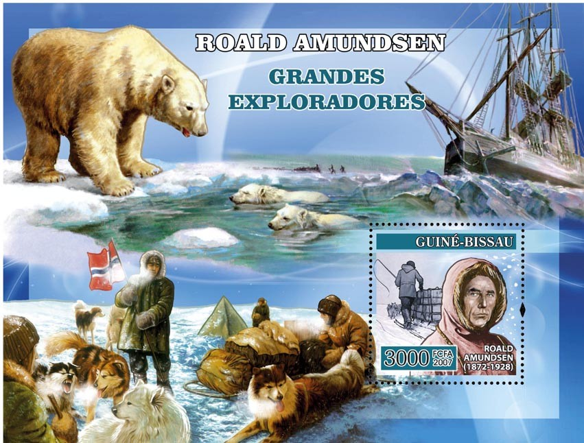Navigators: R. Amundsen, polar bear, dog, etc. s/s 3000 - Issue of Guinée-Bissau postage stamps