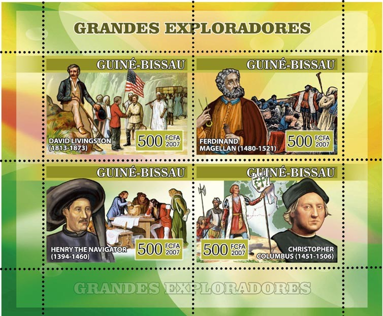 Navigators: D. Livingston, F. Magellan, Henry The Navigator, C. Columbus 4v x 500 - Issue of Guinée-Bissau postage stamps