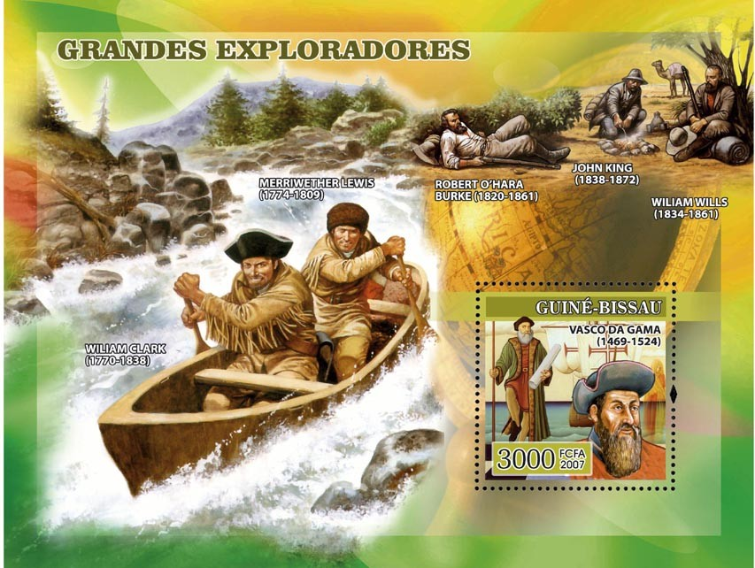 Navigators: Vasco Da Gama and others s/s 3000 - Issue of Guinée-Bissau postage stamps