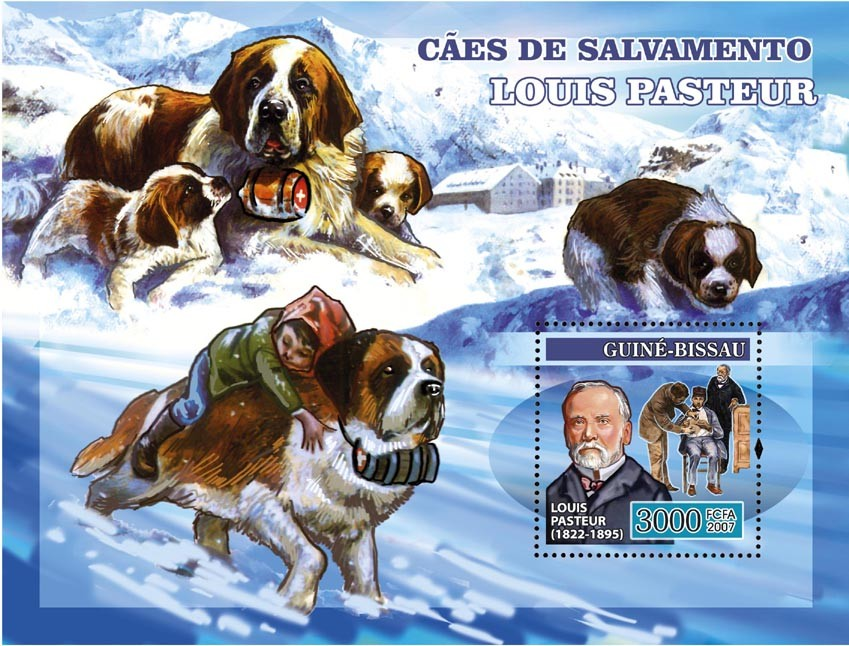 Louis Pasteur Dogs St. Bernard s/s 3000 - Issue of Guinée-Bissau postage stamps