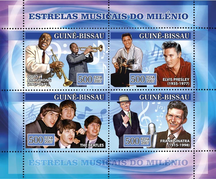 Century Music Stars: L. Armstrong, Elvis Presley, The Beatles, F. Sinatra 4v x 500 - Issue of Guinée-Bissau postage stamps