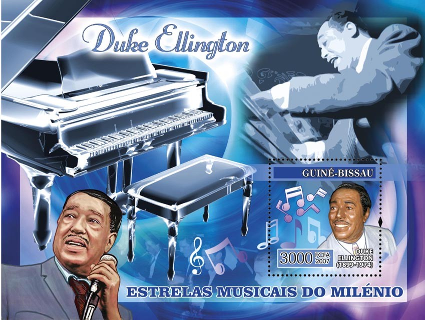 Century Music Stars: Duke Ellington s/s 3000 - Issue of Guinée-Bissau postage stamps