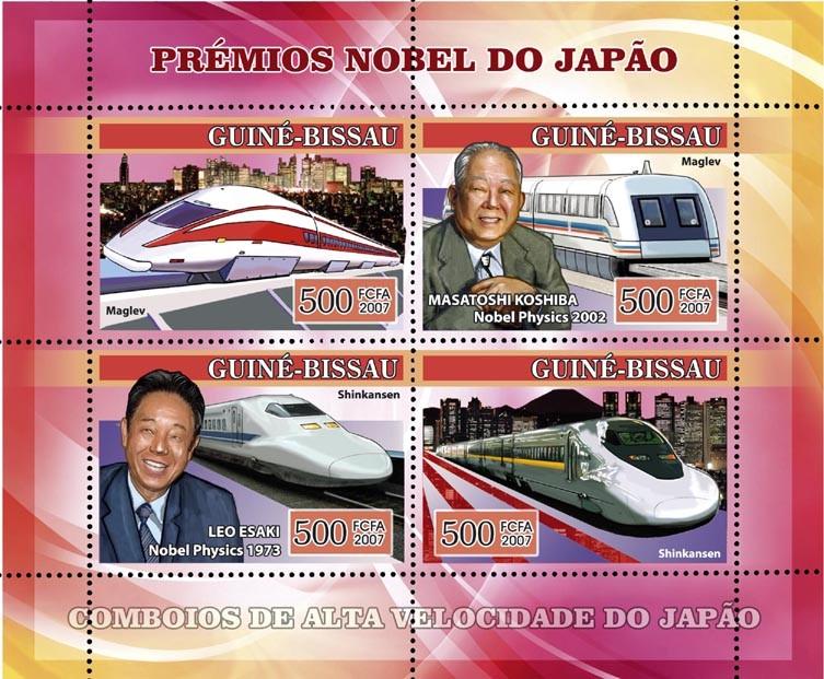 Japanese Nobel Prize Winners: Masatoshi Koshiba, Leo Esaki, Trains Maglev & Schinkassen 4v x 500 - Issue of Guinée-Bissau postage stamps