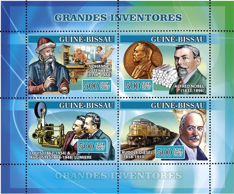 Inventors: Guttenberg printing, Nobel dynamite, Diesel Trains, etc. 4v x 500 - Issue of Guinée-Bissau postage stamps