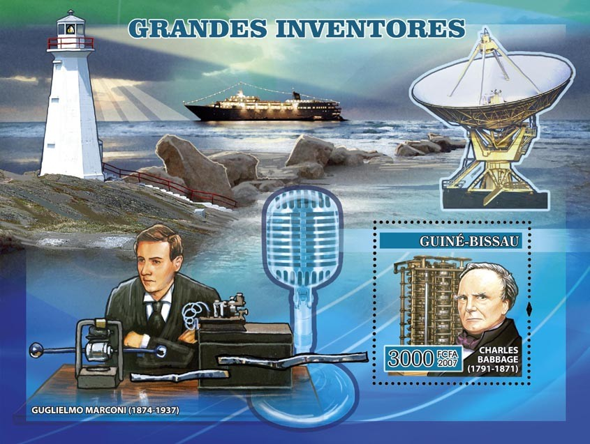 Inventors: Babbage, Marconi, lighthouse, satellite,etc. s/s 3000 - Issue of Guinée-Bissau postage stamps