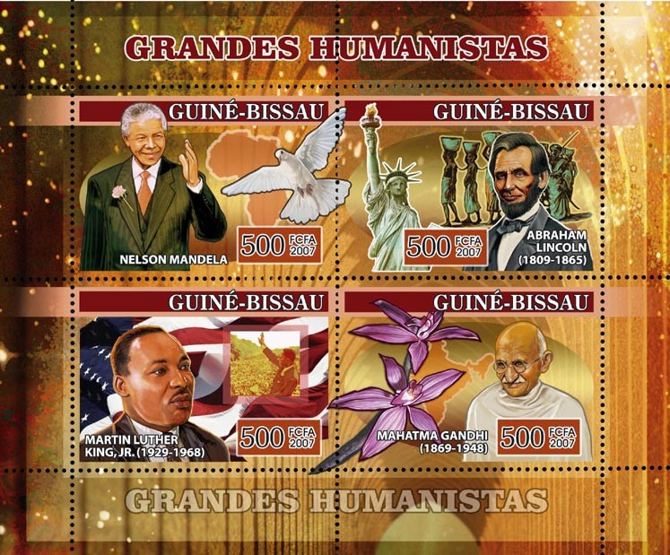 Humanists: Mandela, Lincoln, Martin Luther King, Mahatma Gandhi, orchid, pigeon 4v x 500 - Issue of Guinée-Bissau postage stamps