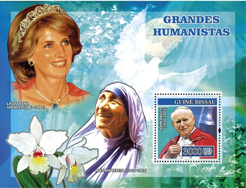 Humanists: Pope John Paul II, Lady Diana, Mother Teresa, orchids s/s 3000 - Issue of Guinée-Bissau postage stamps