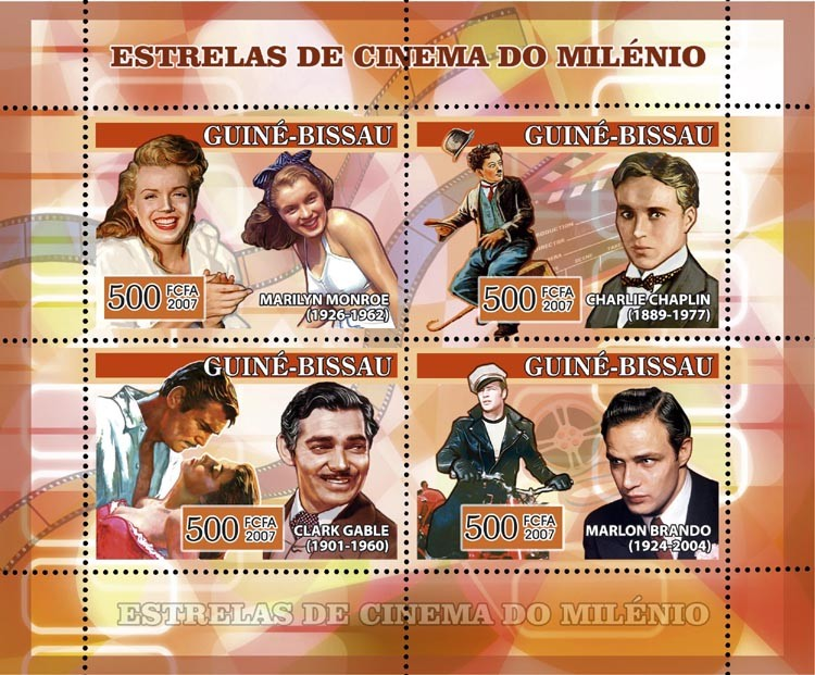 Century Cinema Stars: Marilyn Monroe, C. Chaplin, C. Gable, M. Brando 4v x 500 - Issue of Guinée-Bissau postage stamps