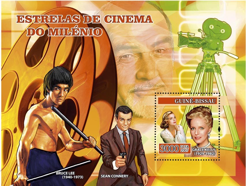 Century Cinema Stars: G. Kelly, Bruce Lee, Sean Connery s/s 3000 - Issue of Guinée-Bissau postage stamps