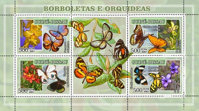 Butterflies and orchids 4v - 500 FCFA - Issue of Guinée-Bissau postage stamps