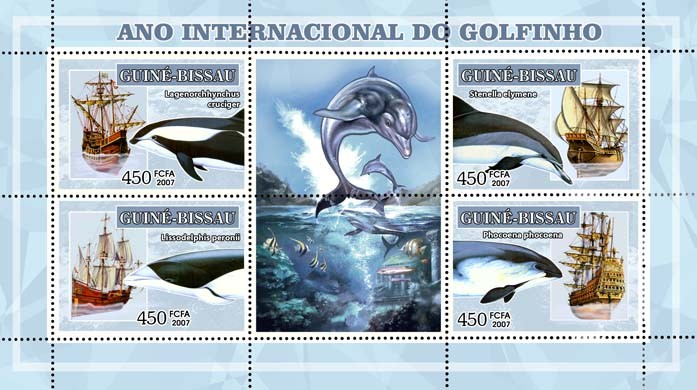 Int'l Dolphin Year, dolphins and sail ships 4v - 450 FCFA - Issue of Guinée-Bissau postage stamps