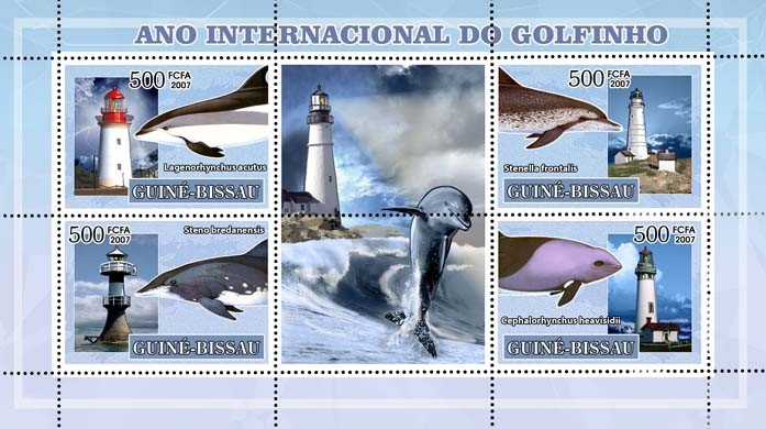 Int'l Dolphin Year, dolphins and lighthouses 4v - 500 FCFA - Issue of Guinée-Bissau postage stamps