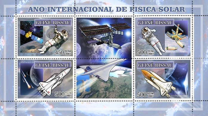 Int'l Year of Heliophysics (space) 3v - 500, 1v - 450 FCFA - Issue of Guinée-Bissau postage stamps