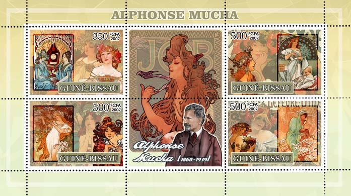 Alphonse Mucha - paintings 3v - 500, 1v - 350 FCFA - Issue of Guinée-Bissau postage stamps