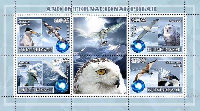 Int'l Polar Year, birds (owl, penguin, sea birds) 4v - 450 FCFA - Issue of Guinée-Bissau postage stamps