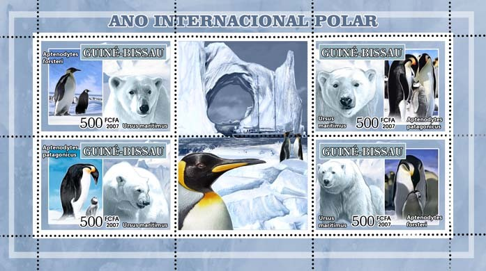 Int'l Polar Year, penguins, white bears 4v - 500 FCFA - Issue of Guinée-Bissau postage stamps