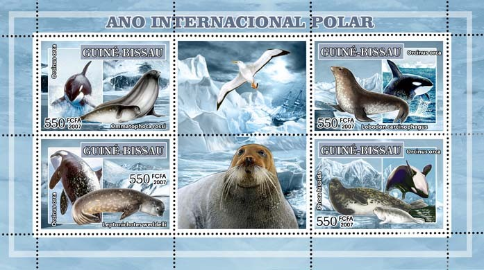 Int'l Polar Year, birds (dolphins, seals) 4v - 550 FCFA - Issue of Guinée-Bissau postage stamps