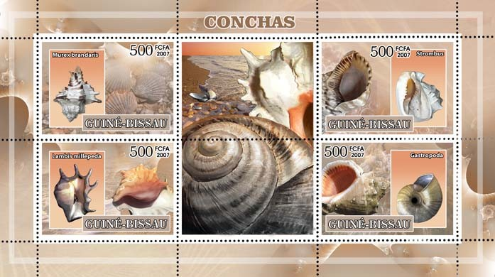 Shells 4v - 500 FCFA - Issue of Guinée-Bissau postage stamps