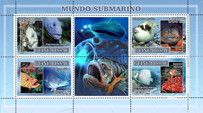 Fauna of underwater 4v - 500 FCFA - Issue of Guinée-Bissau postage stamps