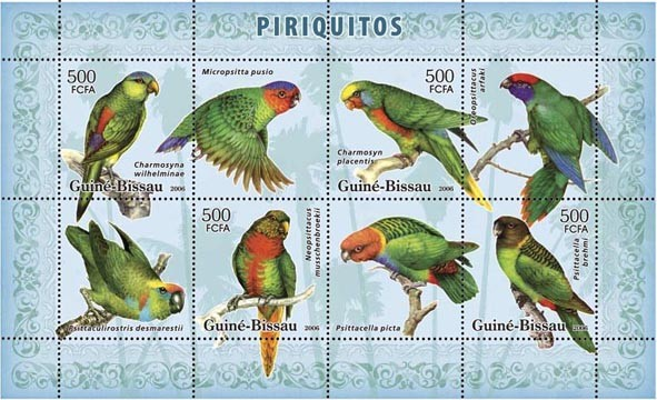 Parrots 4v - 500 FCFA - Issue of Guinée-Bissau postage stamps