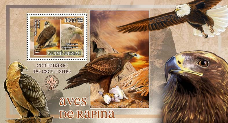 Birds of prey - eagles - scouts logo s/s - 3000 FCFA - Issue of Guinée-Bissau postage stamps