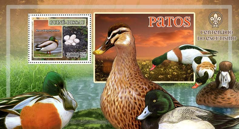 Birds - ducks - scouts  logo s/s - 3000 FCFA - Issue of Guinée-Bissau postage stamps
