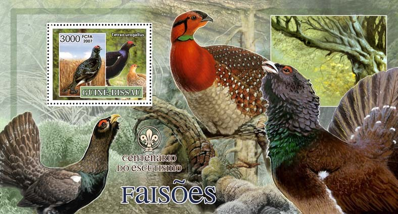 Birds - pheasants - scouts logo s/s - 3000 FCFA - Issue of Guinée-Bissau postage stamps