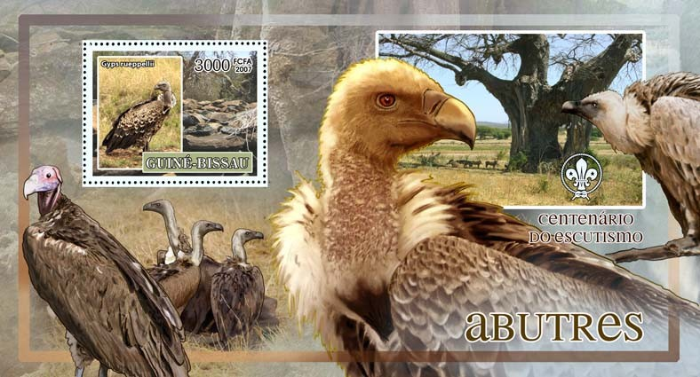 Birds - griffons - scouts logo s/s - 3000 FCFA - Issue of Guinée-Bissau postage stamps