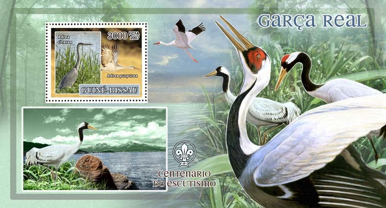Birds - herons - scouts logo s/s - 3000 FCFA - Issue of Guinée-Bissau postage stamps