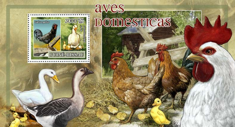 Birds - domestic - scouts logo s/s - 3000 FCFA - Issue of Guinée-Bissau postage stamps