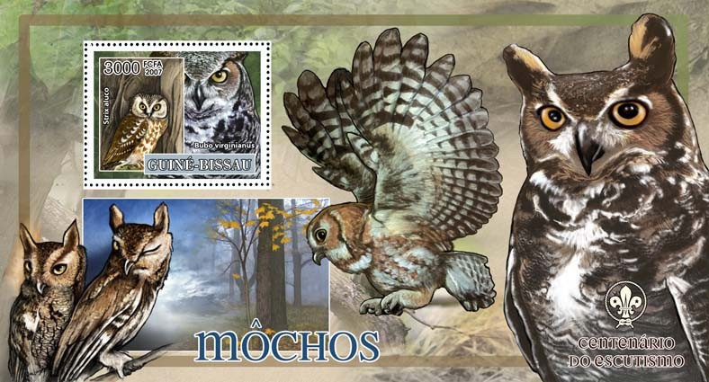 Birds - owls I - scouts logo s/s - 3000 FCFA - Issue of Guinée-Bissau postage stamps