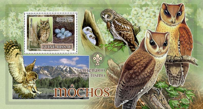 Birds - owls II - scouts logo s/s - 3000 FCFA - Issue of Guinée-Bissau postage stamps