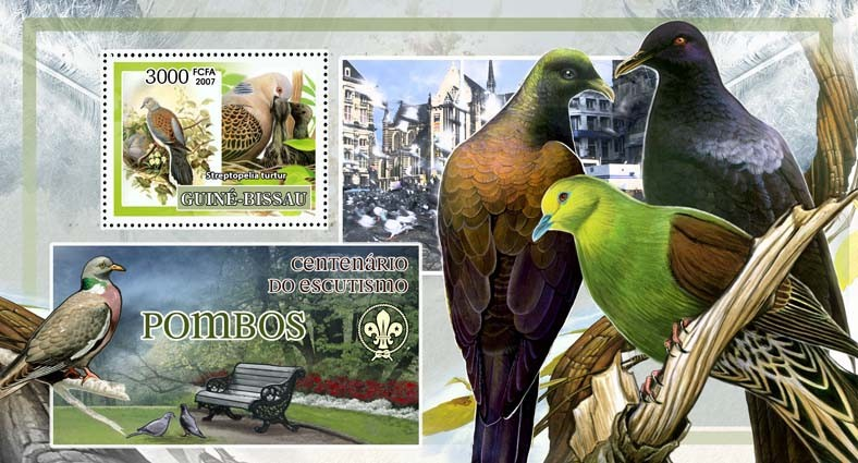 Birds - pigeons - scouts logo s/s - 3000 FCFA - Issue of Guinée-Bissau postage stamps