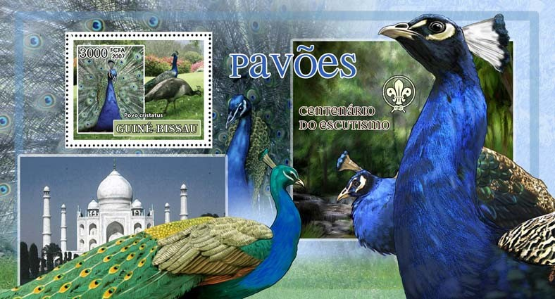 Birds - peacocks - scouts logo s/s - 3000 FCFA - Issue of Guinée-Bissau postage stamps